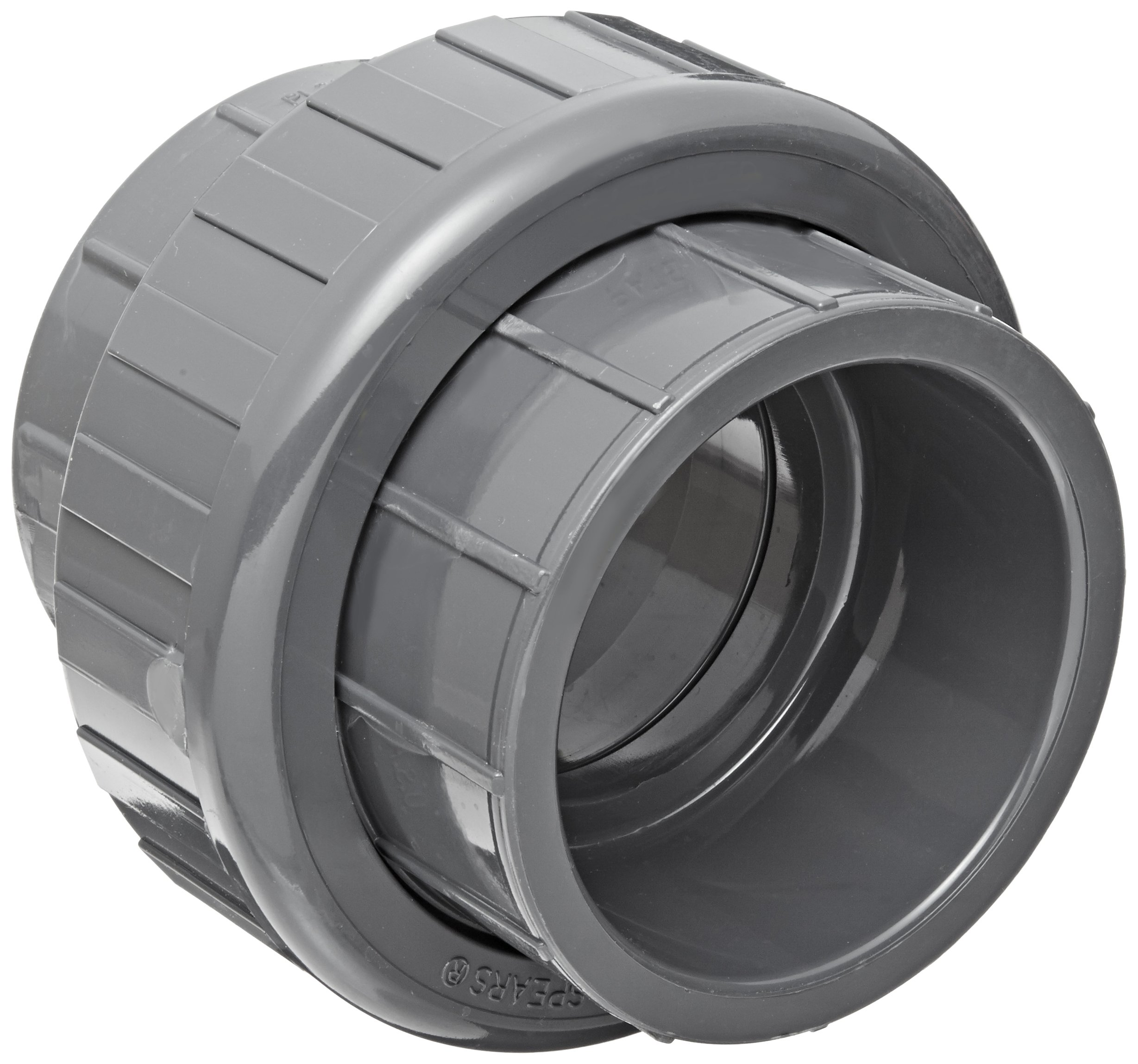 Spears 897 Series PVC Pipe Fitting, Union with EPDM O-Ring, Schedule 80, 3'' Socket