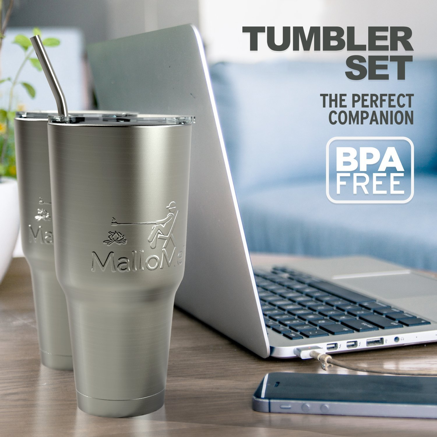 MalloMe Tumbler 30 oz. Double Wall Stainless Steel Vacuum Insulated - Travel Mug [Crystal Clear Lid] Water Coffee Cup [Straw Included] For Home,Office,School - Works Great for Ice Drink, Hot Beverage by MalloMe (Image #3)