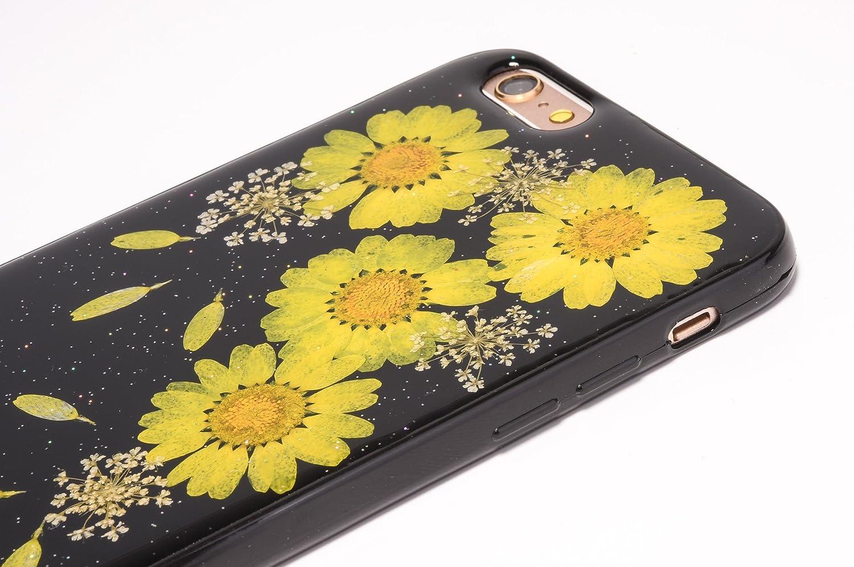 3889e3f3ff Amazon | iphone7 カバー [TIPFLY] 黒ベース 押し花 フラワー TPUソフト ケース ドライフラワー スキン 4つ菊  [並行輸入品] | ケース・カバー 通販