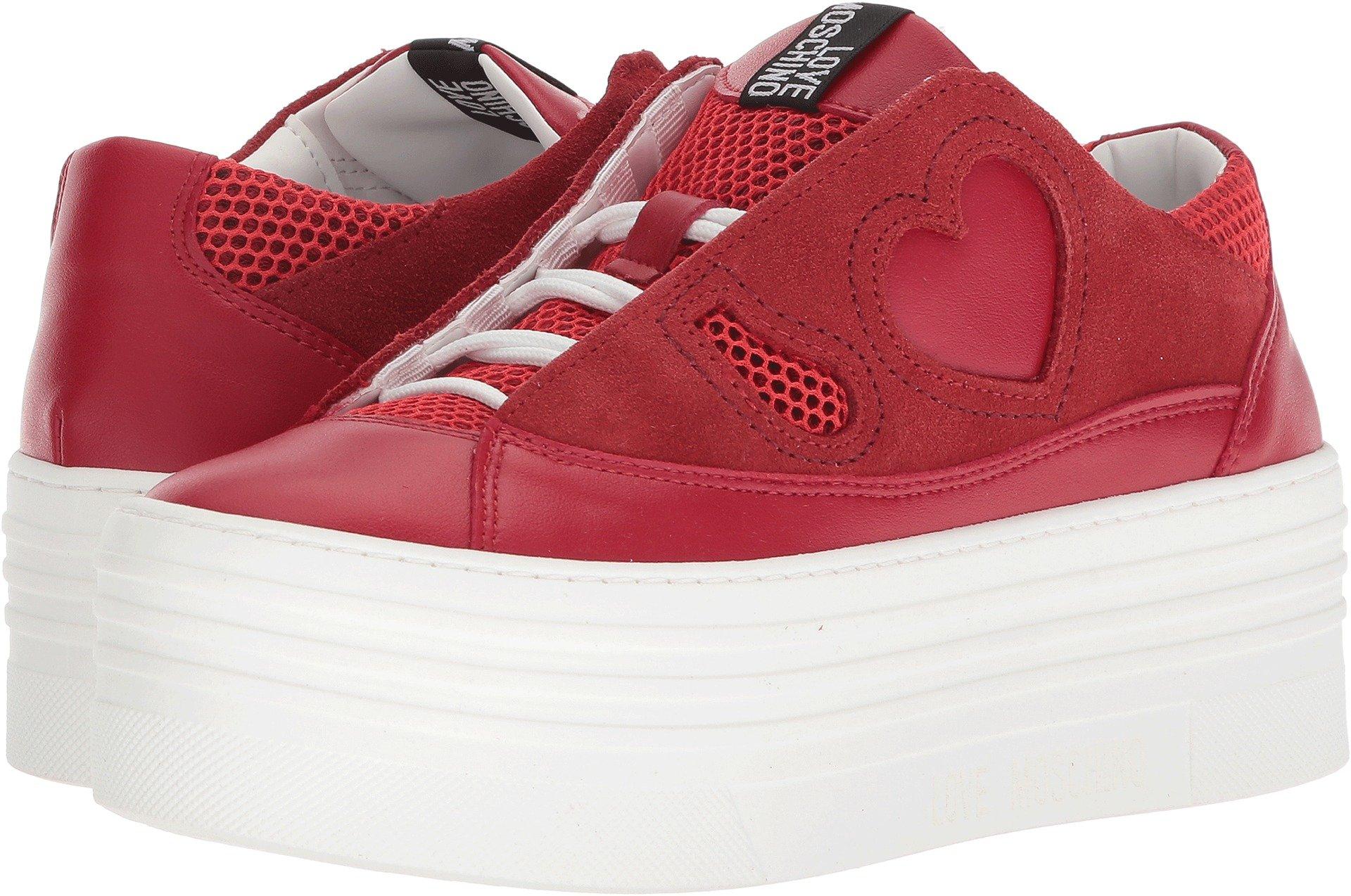 Love Moschino Women's Suede Platform Sneaker Red 35 M EU