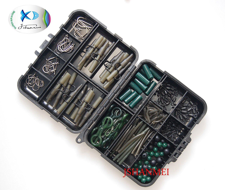 JSHANMEI Carp Fishing Tackle Kit Box Lead Clips//Beads//Hooks//Tubes//Swivels Baiting Terminal Rigs Carp Tackle Box 160pcs