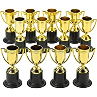 Kicko Plastic Trophies - 24 Pack 4 Inch Cup Golden Trophies for Children, Competitions, Awards, Parties, Party Favors…