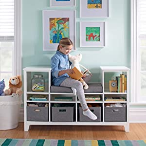 MARTHA STEWART Living and Learning Kids' Reading Nook - White: Wooden Storage Bookshelf Organizer with Seat Cushion, and Fabric Bins for Toys, Books, Art - Bedroom or Playroom Cubby
