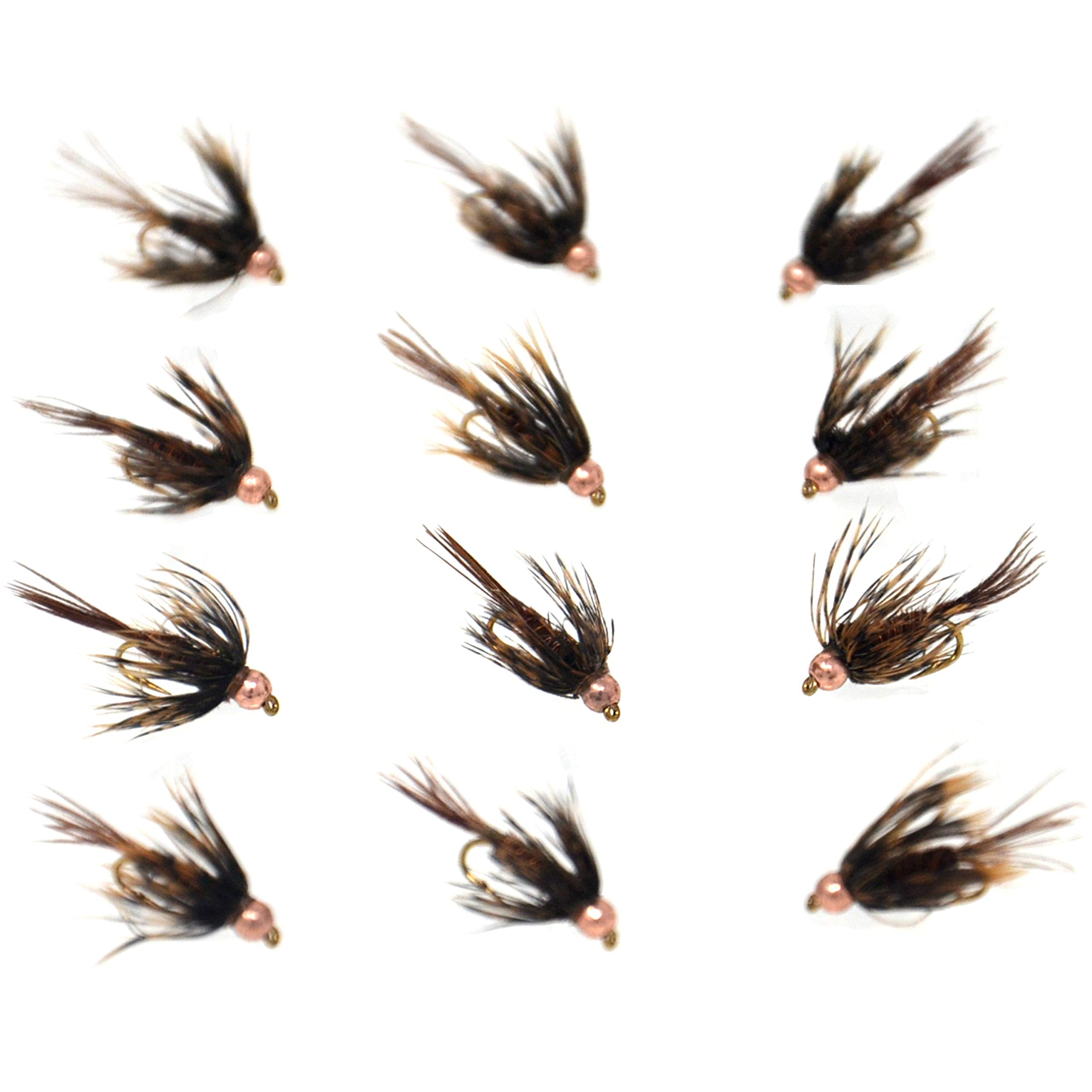 Outdoor Planet 12 Bead Head Soft Hackle Pheasant Tail Mayfly Nymph Flies/Wet Flies for Trout Fly Fishing Flies Lure Assortment by Outdoor Planet