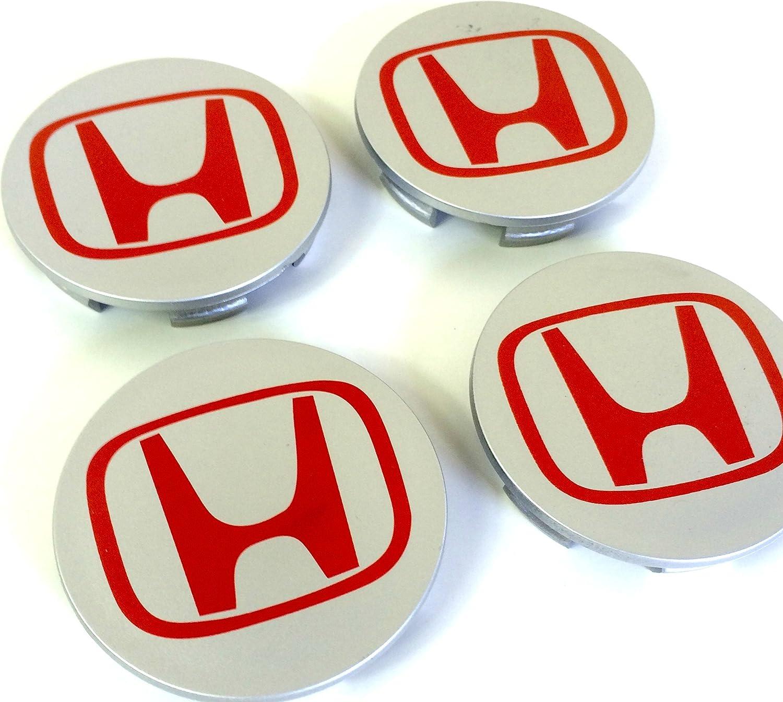 4x Honda 70/mm Alloy Wheel Badges Center Hub Caps Chrome Red Honda Accord Civic CV/ /R