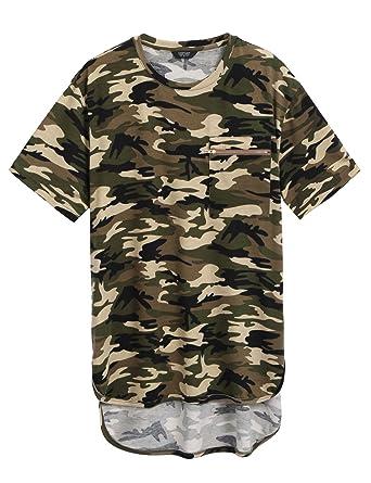 55af10584 COOFANDY Mens Summer Hipster Hip Hop Camo-Camouflage T Shirts Longline Tee  With Zipper Pocket