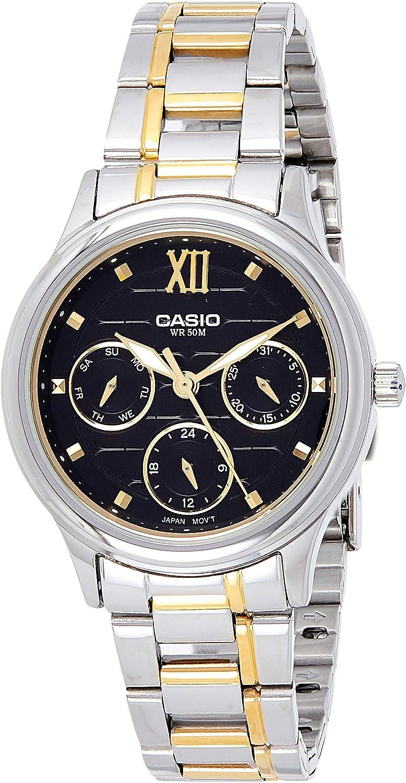 Casio Ltp-e306sg-1a Reloj Analogico para Mujer Colección Enticer Caja De Metal Esfera Color Negro