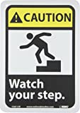 "NMC CGA12R OSHA Sign, Legend ""CAUTION - Watch your step."" with Graphic, 7"" Length x 10"" Height, Rigid Plastic, Yellow/Black on White"