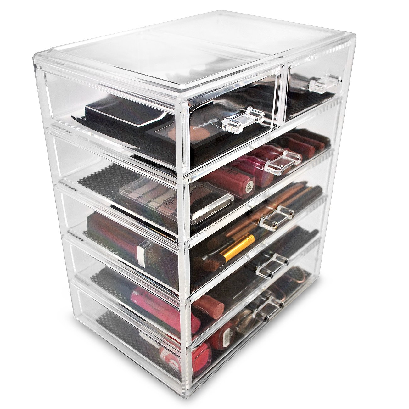 Amazon.com: Sorbus Cosmetics Makeup and Jewelry Big Storage Case Display -  Stylish Vanity, Bathroom Case (4 Large, 2 Small Drawers, Clear): Home &  Kitchen