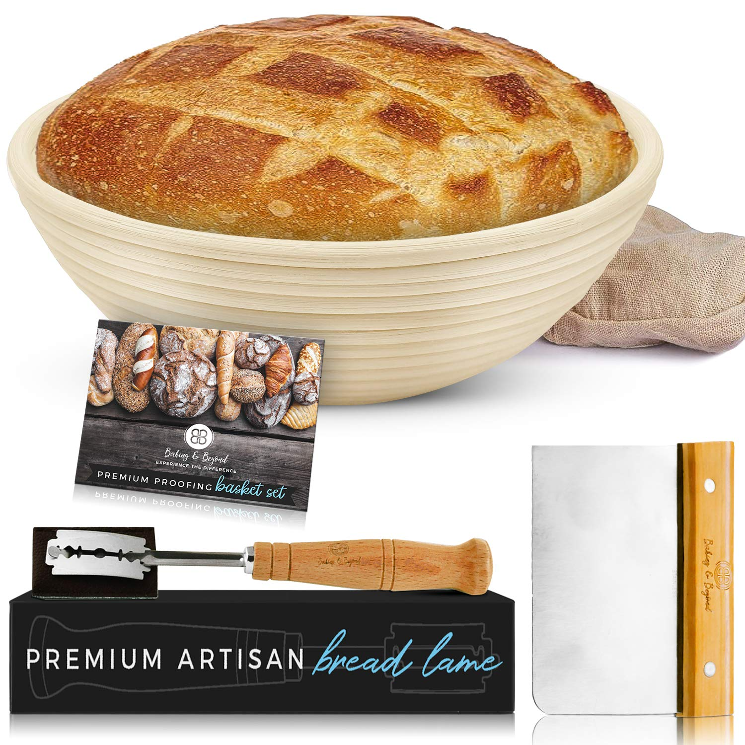 Baking & Beyond Banneton Proofing Basket (9 inch) Bundle with Brotform Linen Liner, Dough Scraper, Scoring Lame & 5 Blades - Sourdough Starter Kit for Artisan Bread Baking - A Novel Bakers Gift by BB BAKING & BEYOND