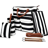 6pcs Baby Diaper Bags Set,Large Capacity,Primebabe Striped Nappy Tote Stroller Bags Organizer for Baby Care, Moms, Girls, Black with Changing Pad,Durable and Stylish