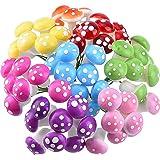 64 Pieces Mini Mushrooms for Fairy Garden PVC Mushrooms Miniature Figurines Colorful Miniature Garden Ornaments Fairy…