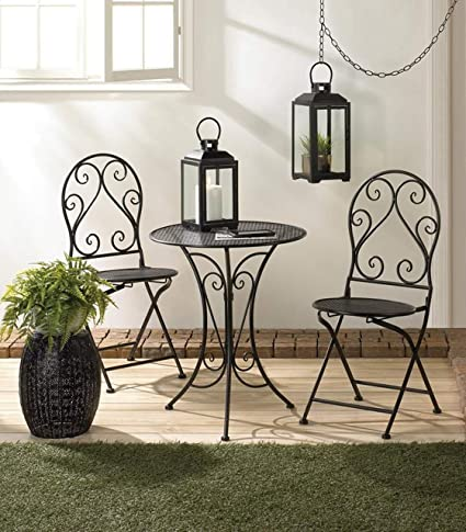 Wondrous Aspen Tree Cafe Table And Chairs Set Chic Kitchen 3 Piece Round Bistro Table Sets Indoor Outdoor Compact Black Metal Bistro Table 2 Folding Chair Machost Co Dining Chair Design Ideas Machostcouk