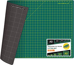 NEWBRAUG 24'' × 32'' Large Self Healing Gridded Rotary Cutting Mat, Big Double Sided 5-Ply Cutting Board(Green/Black) for Quilting, Sewing, Craft, Fabric & Scrapbooking (Green/Black)