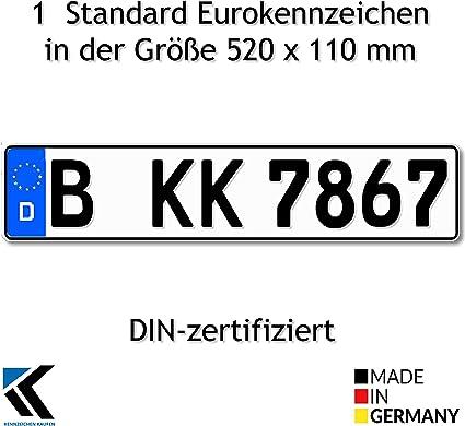 Antmas 1 Euro Kennzeichen Kfz Kennzeichen Din Zertfiziert Für Deutschalnd 520x110 Mm Auto
