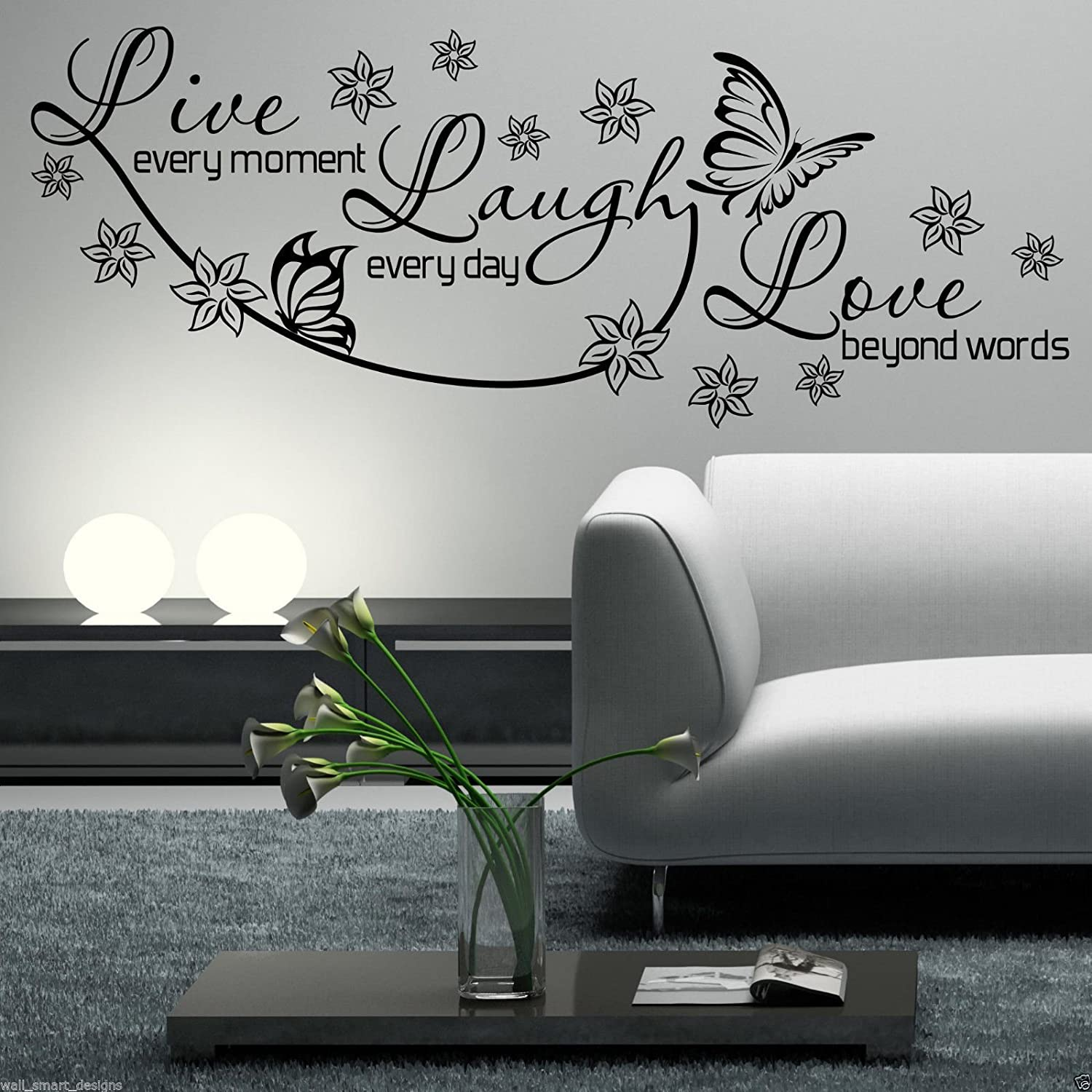 Live Laugh Love Wall Art Part - 20: Amazon.com: LIVE LAUGH LOVE Wall Art Sticker Lounge Room Quote Decal Mural  Stencil Transfer: Kitchen u0026 Dining