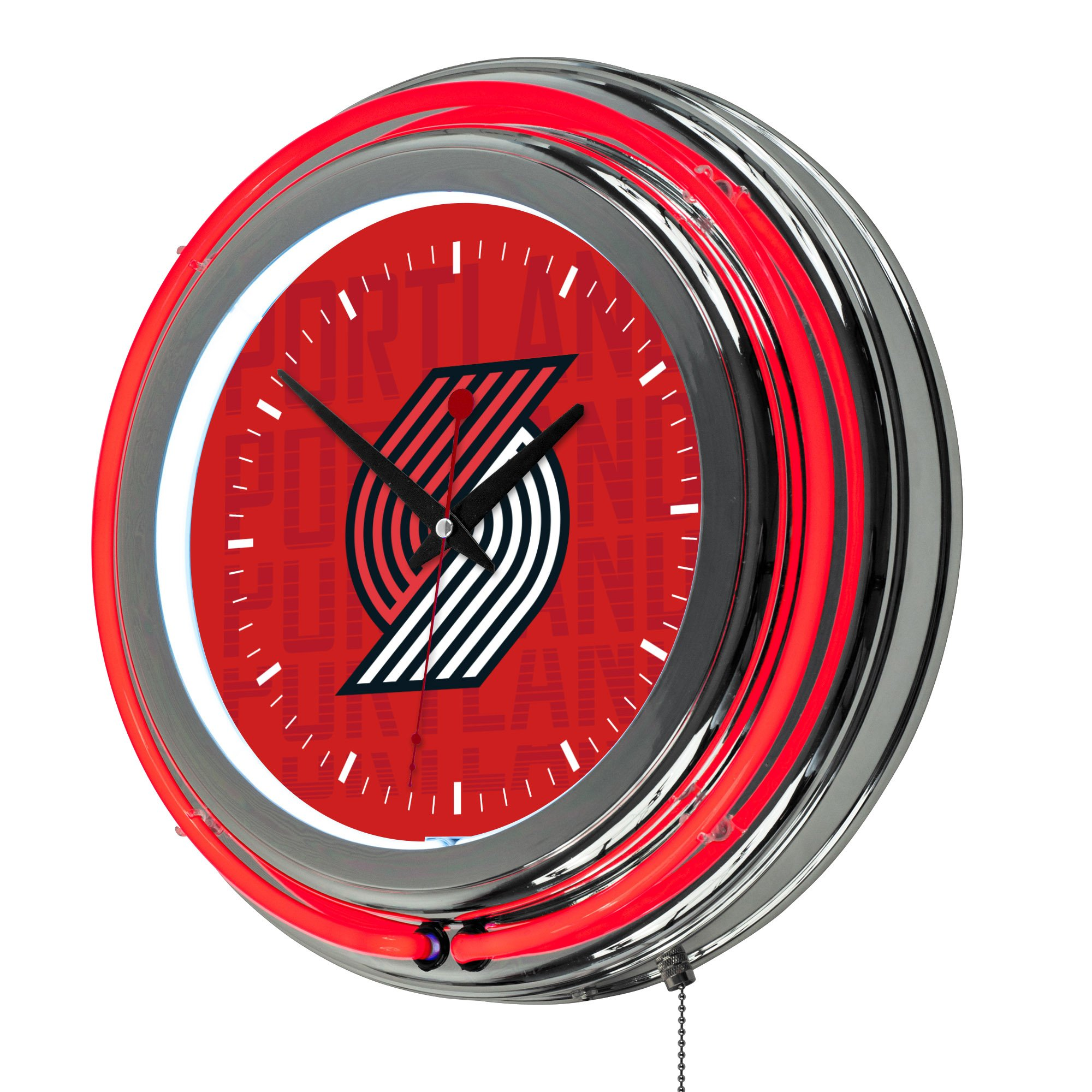 Trademark Gameroom NBA1400-PTB3 NBA Chrome Double Rung Neon Clock - City - Portland Trailblazers by Trademark Global