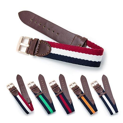 2 opinioni per Leather Style CIVO Militari Dell'esercito Svizzero e Nylon Strap 18 Millimetri