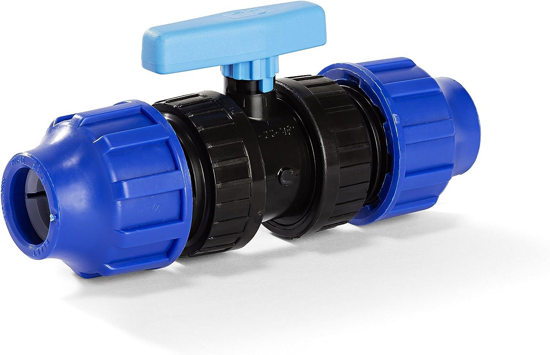 H2O-Flex PP-Fitting 20er Kugelhahn f/ür PE-Rohr Klemmverbinder DVGW 20 mm