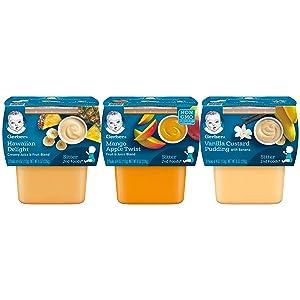 Gerber 2nd Foods Tubs Dessert Variety Pack 4 Hawaiian Delight 4 Vanilla Custard Pudding 4 Mango Apple Twist 12 CT