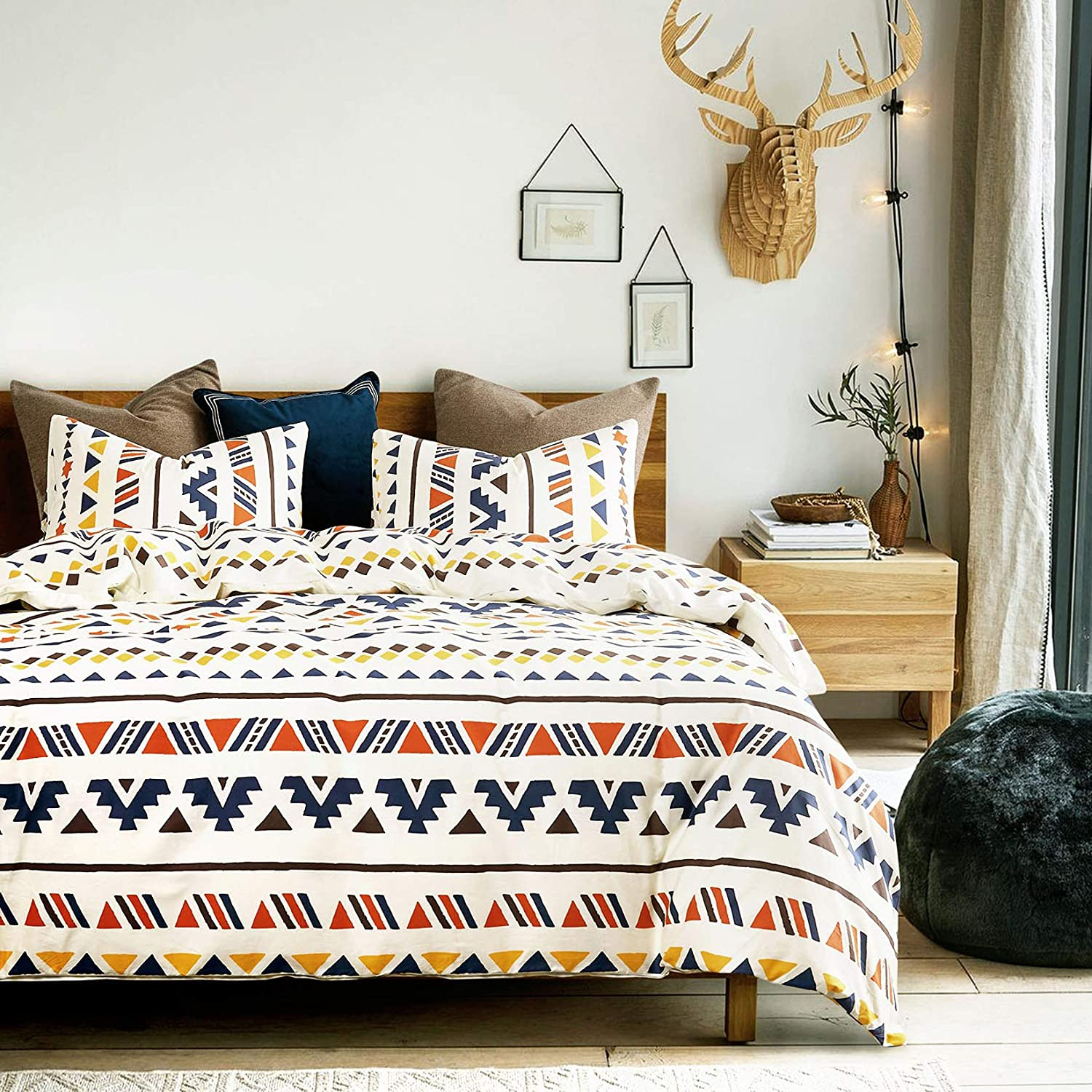 Wake In Cloud - Aztec Comforter Set, 100% Cotton Fabric with Soft Microfiber Fill Bedding, Colorful Geometric Modern Pattern Printed on Light Beige