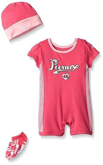 b022cd57d349d PUMA Baby-Girls Romper Hat Socks Set