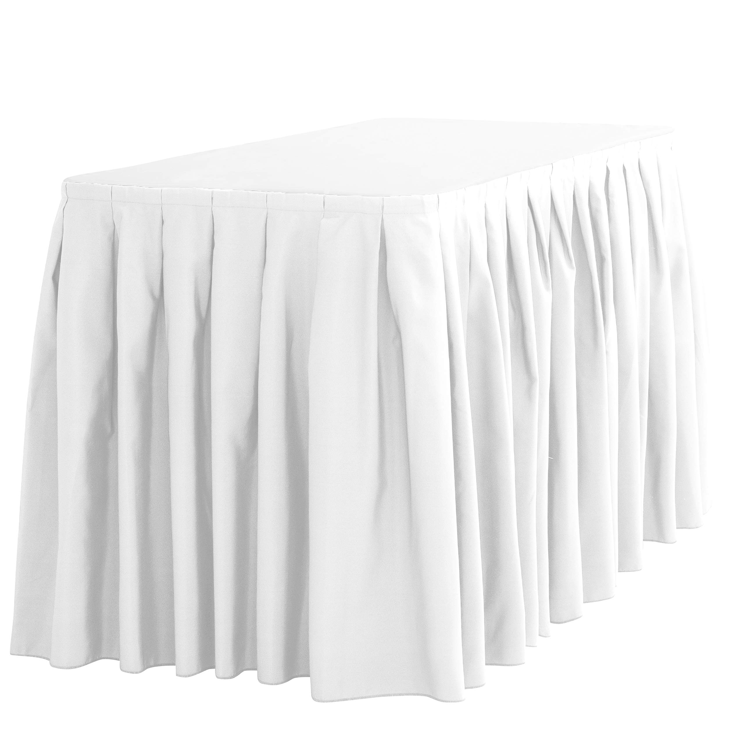 LinenTablecloth 14 ft. Accordion Pleat Polyester Table Skirt White by LinenTablecloth