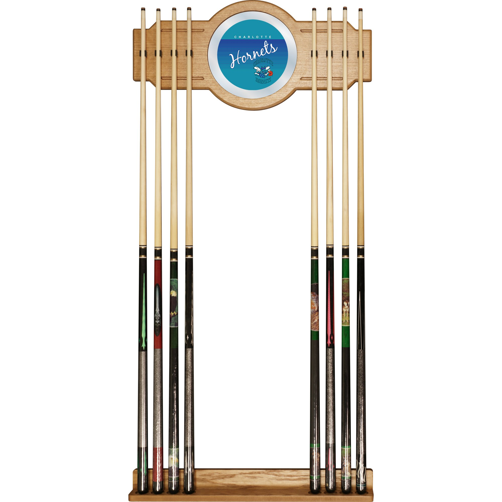 NBA Charlotte Hornets Cue Rack with Mirror, One Size, Brown