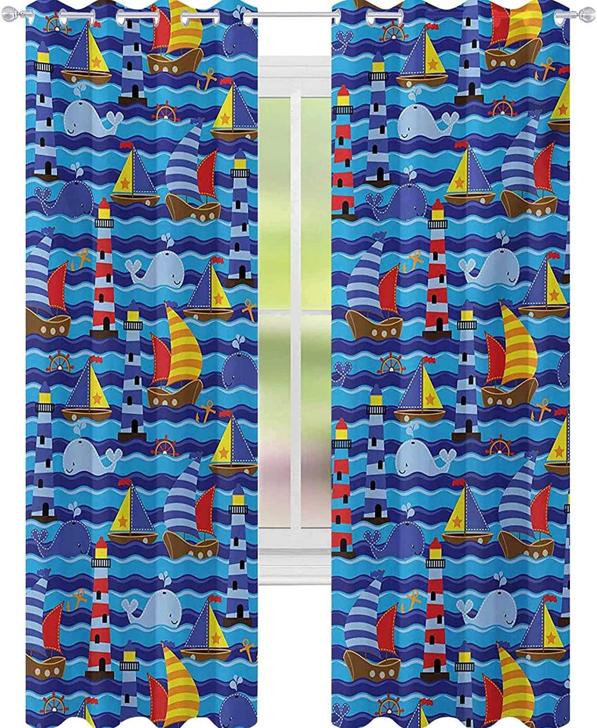 YUAZHOQI Nautical Blackout Curtains for Bedroom Nautical Themed Wavy Ocean Boating Yacht Dolphin Compass Lighthouse Fish Decor Curtains 52