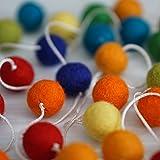 100% Wool Felt Ball Garlands 9FT Long 35 Balls - Rainbow Colors Vivid & Bright