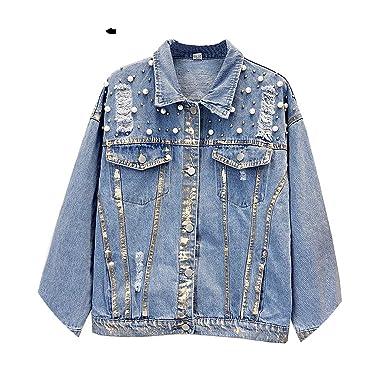bac41ec3b8a8a Flectit Gold Painted Studded Pearl Jacket Women Vintage 90s Punk Style  Oversize Jeans Jackets