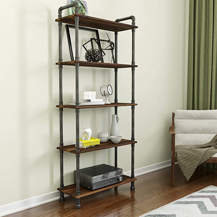 "Barnyard Designs Furniture 5-Tier Etagere Bookcase, Solid Pine Open Wood Shelves, Rustic Modern Industrial Metal and Wood Style Bookshelf, Brown, 70.5"" x 29.5"" x 11.75"""