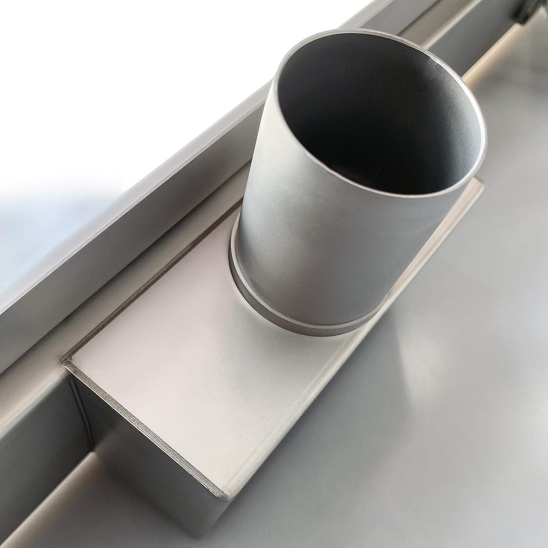 Aica Caniveau de Douche Italienne Acier Inoxydable 50 cm Siphon Sol D/évacuation Mod/èle en verre Noir Rectangulaire Extra Plat Argent