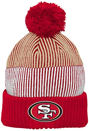 3322dcce NFL San Francisco 49ers Youth Outerstuff Team Stripe Cuff Pom Hat, Team  Color , Youth One Size