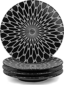 MARSTRACE 8.25 Inch Ceramic Desserts Plates,Black and White Plates Porcelain Salad Plates with Stripe Texture for Sandwiches Dinner Pasta,Set of 4,Microwave Dishwasher Safe