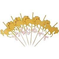 Hello Kawaii Glitter Gold Carousel Horse Cupcake Toppers (Paquete De 12)