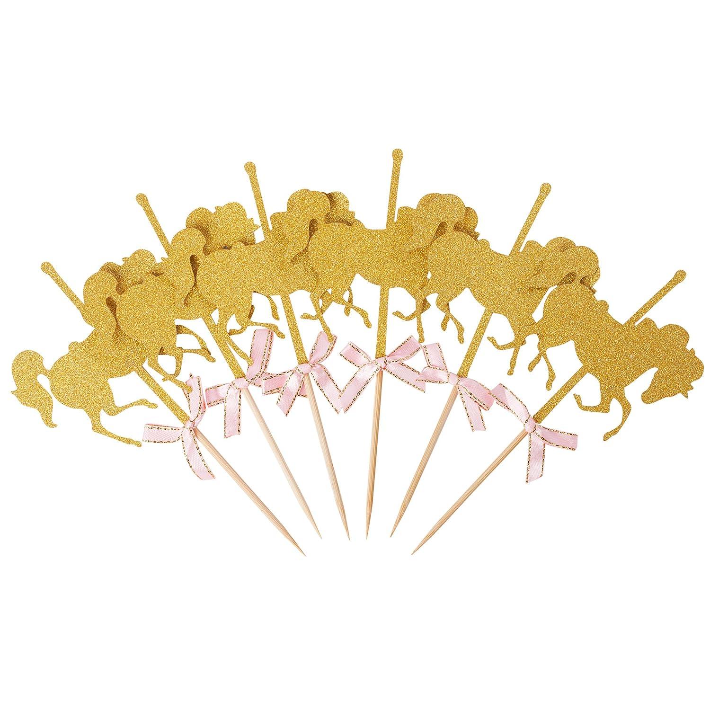 Paquete De 12 Hello Kawaii Glitter Gold Carousel Horse Cupcake Toppers