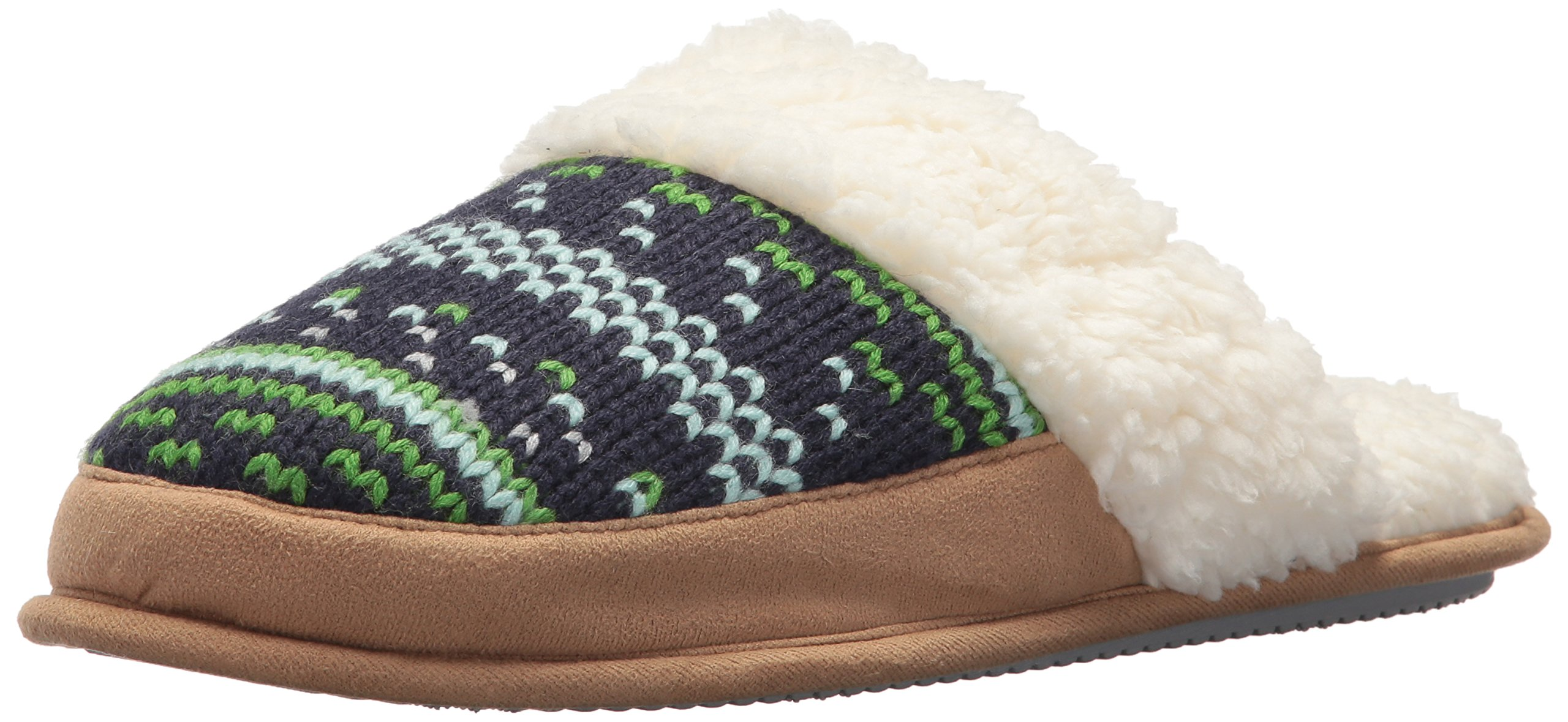 Dearfoams Women's Patterned Knit Closed T Scuff, Peacoat, S Medium US