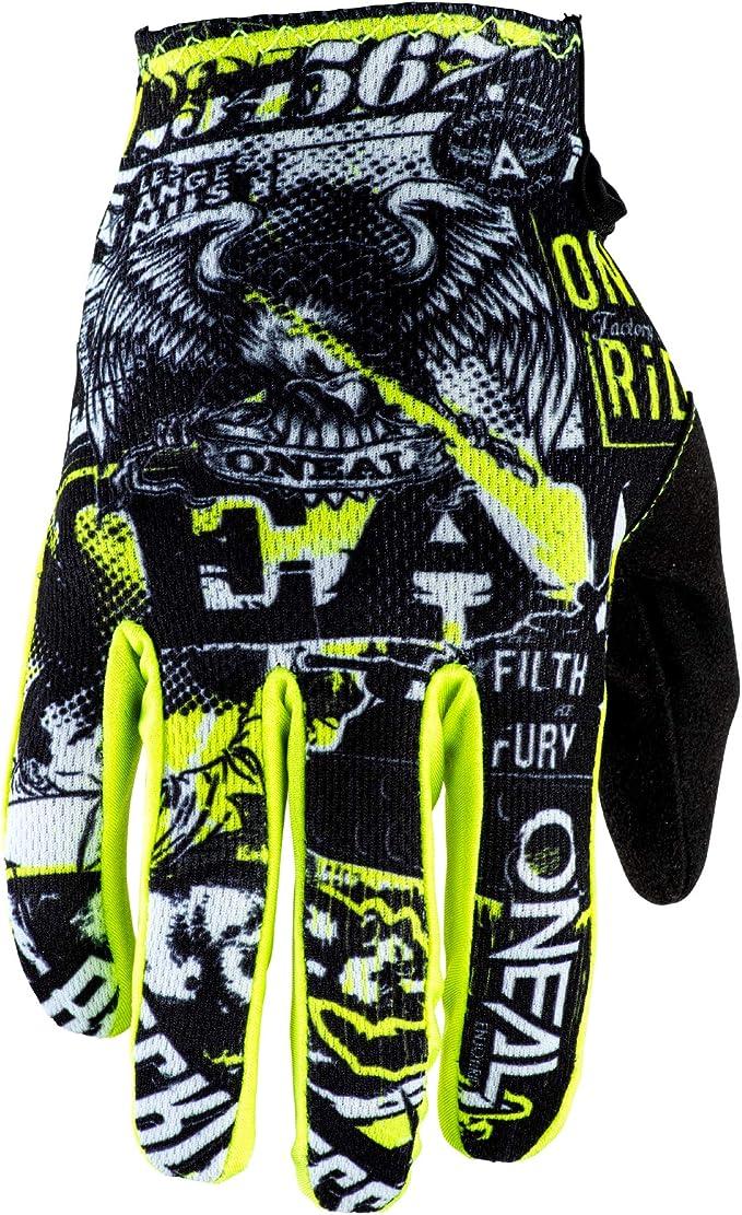 O Neal Fahrrad Motocross Handschuhe Mx Mtb Dh Fr Downhill Freeride Langlebige Flexible Materialien Belüftete Handoberseite Matrix Glove Attack Unisex Schwarz Neon Gelb Auto
