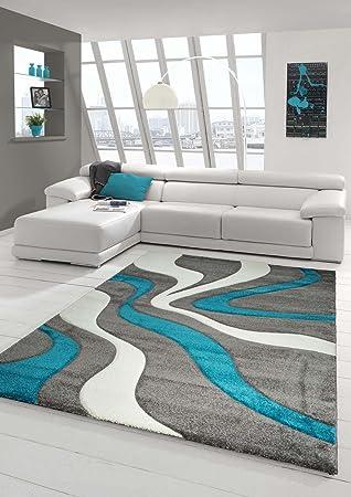 Designer Teppich Moderner Teppich Wohnzimmer Teppich Kurzflor Teppich Mit  Konturenschnitt Wellenmuster Türkis Grau Weiss Größe 160x230
