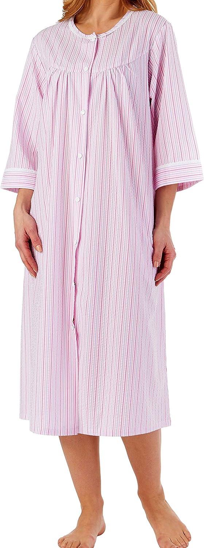 114 cm da Donna con Finiture in Pizzo Slenderella Cappotto da Notte o Camicia da Notte a Maniche Corte a Righe in Cotone Leggero 45 cm