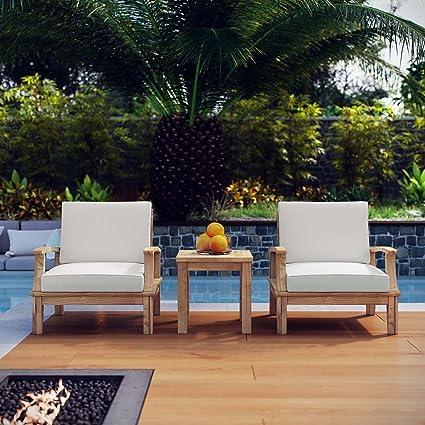 Modway Marina Teak Wood 3-Piece Outdoor Patio Furniture Set in Natural White - Amazon.com : Modway Marina Teak Wood 3-Piece Outdoor Patio Furniture