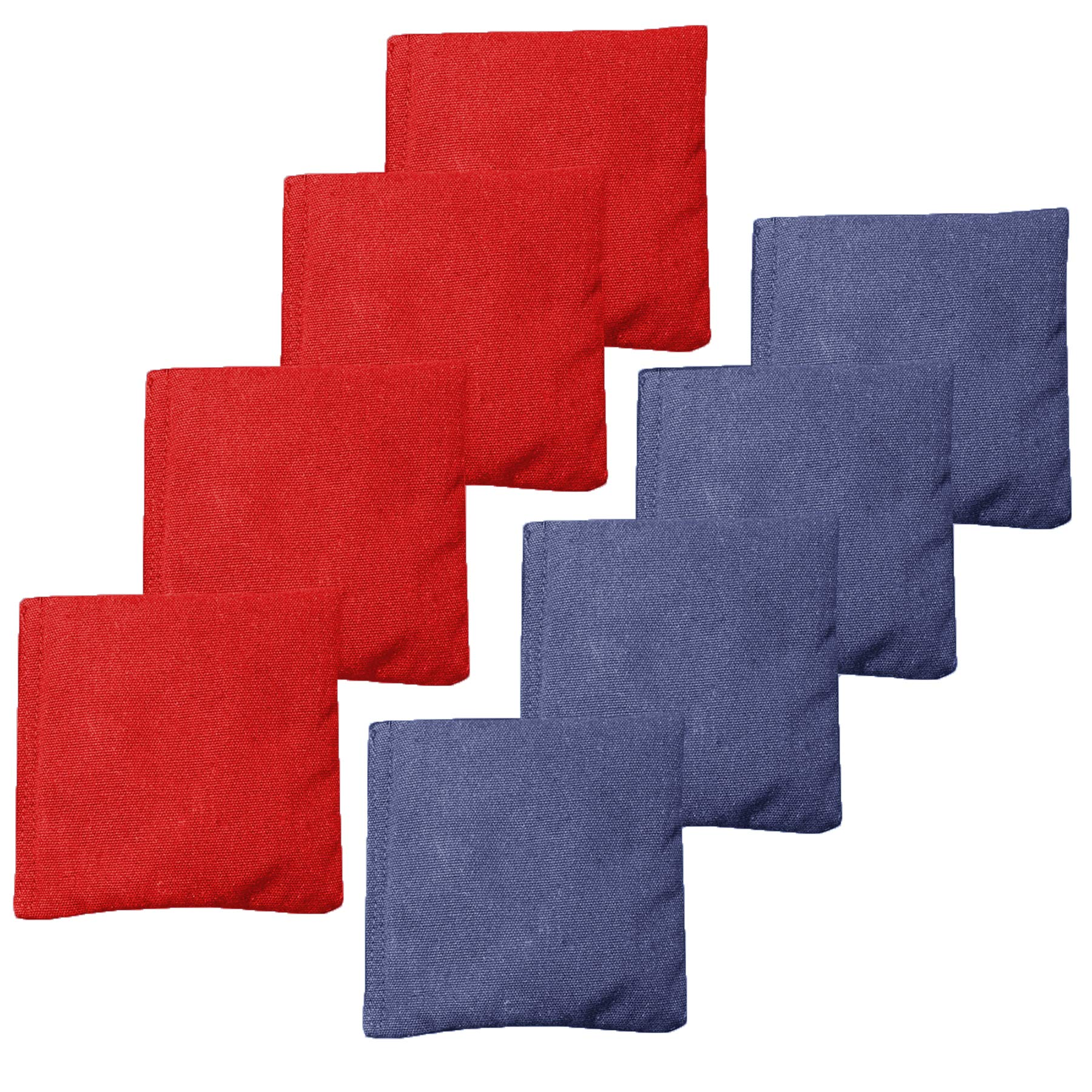 All Weather Cornhole Bean Bags Set of 8 - Duck Cloth, Regulation Size & Weight - Red & Navy Blue