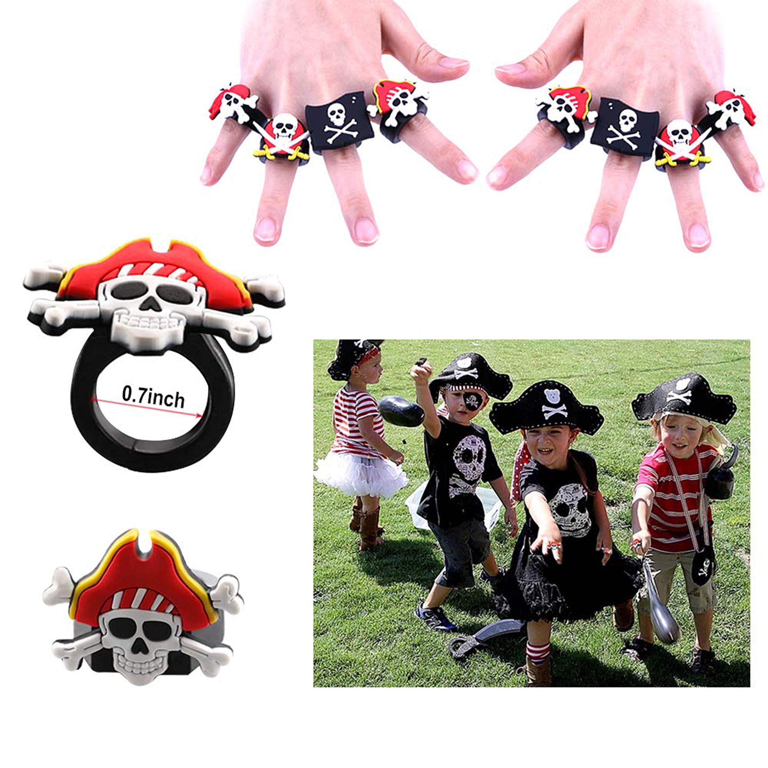 DDream Pirates Anniversaire, 32Pcs Pirates Bagues, Pirates Porte-Clés, Tatouages Temporaires de Pirates Enfant Fille Garçon pour Un Cadeau de l\'anniversaire sur Le Thème Pirates
