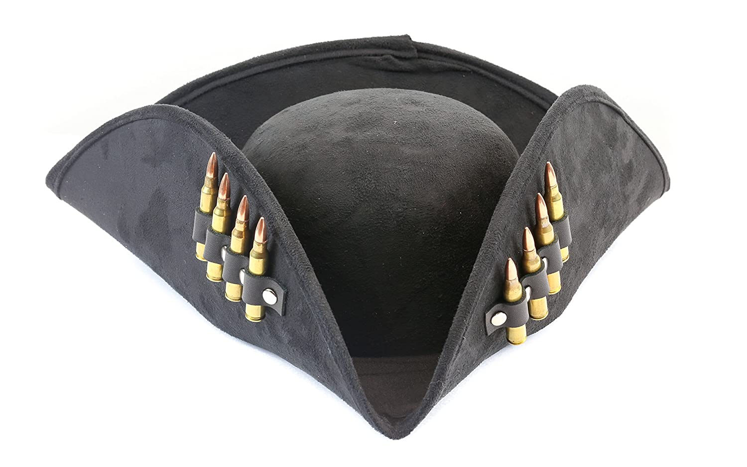 Men's Pirate Black Suede Real .223 Bullet Costume Hat - DeluxeAdultCostumes.com