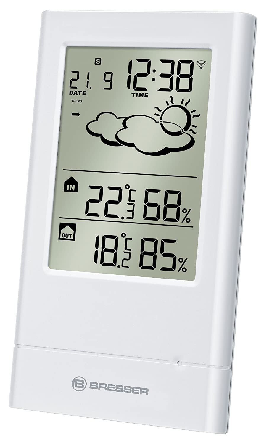 Bresser Weather Station Temp Trend with weather forecast with outdoor sensor, white 7004002