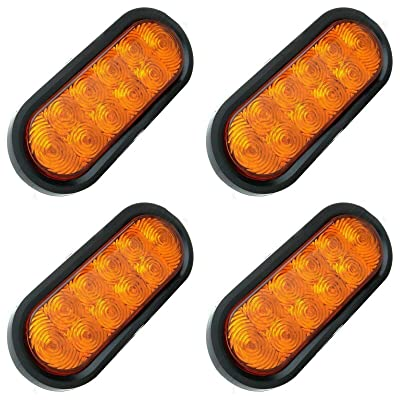 "4pc 6"" inch Oval Amber LED Trailer Tail Lights [DOT Certified] [Grommet & Plug Included ] [IP67 Waterproof] Park Turn Trailer Lights for RV Jeep Trucks: Industrial & Scientific"