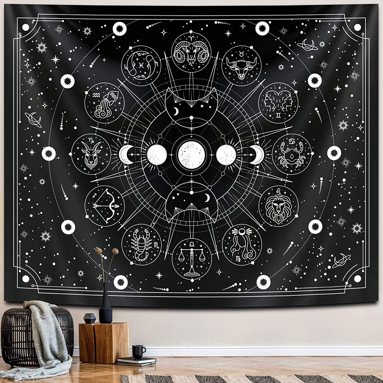 Zodiac Astrology Witchy Tapestry, Black White Constellation Tapestry for Wall Hanging Decor, Stars Space Psychedelic Bedroom Aesthetics Interesting Tapestry for Living Room,Home,Dorm (59 x 78 inches)