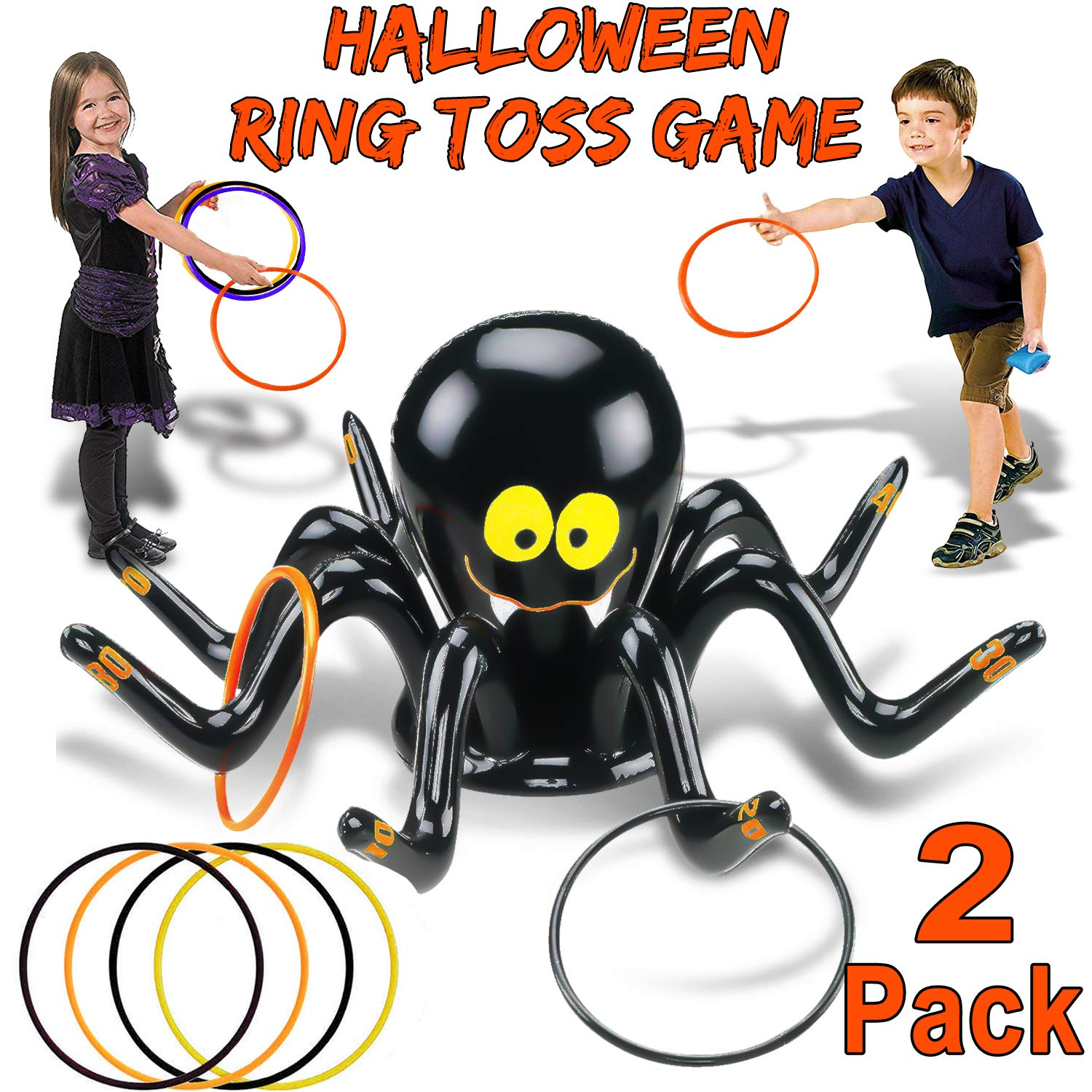 2 Pack Inflatable Spider Witch Hat Ring Toss Game Halloween Party Games for Kids Adult Carnival Party Outdoor Activities Game Spider Toys or Halloween School Holiday Party Favors (2 Spiders + 8 Ring) by AMENON