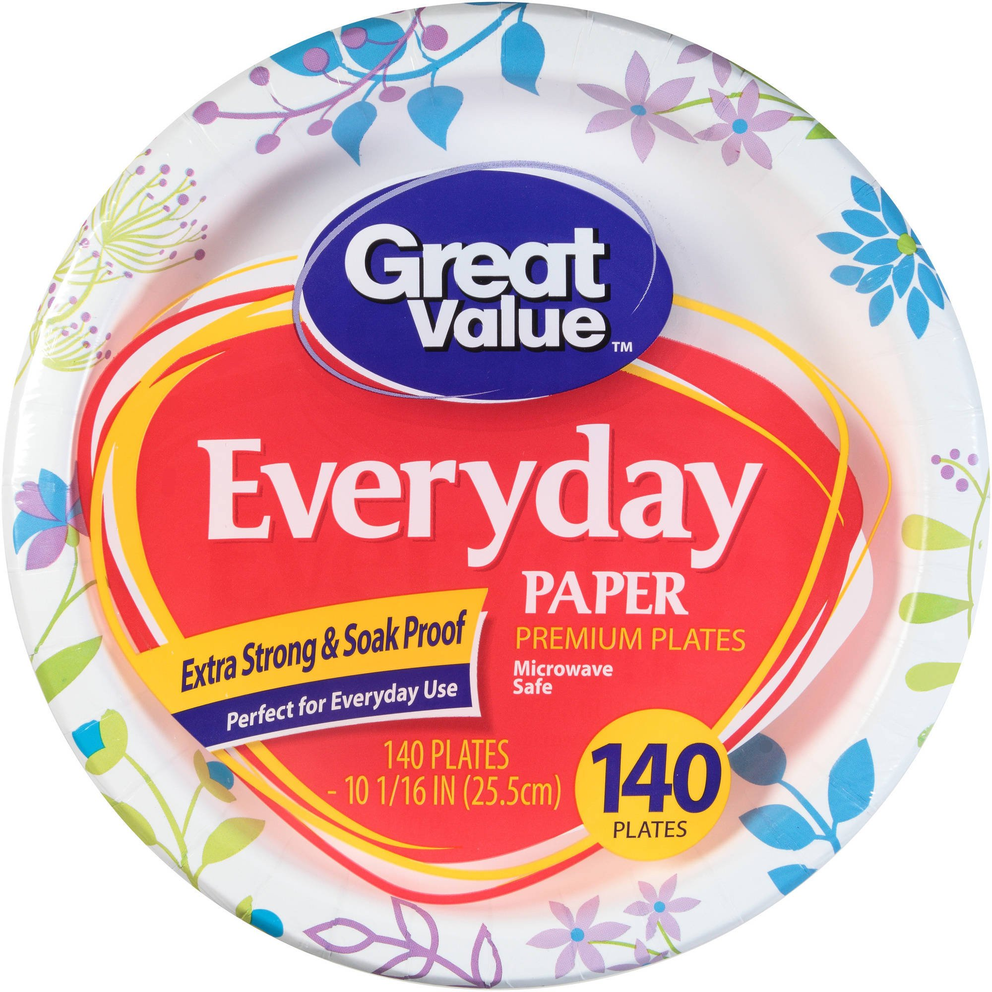 Great Value Everyday Premium Paper Plates 10 1/16'' 140 Count by Great Value